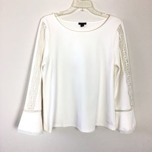 Ann Taylor Bell Sleeves Blouse Lace Ivory M